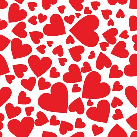 Seamless pattern of red heart on white background. Use for decorative paper, textiles and various ornaments.
