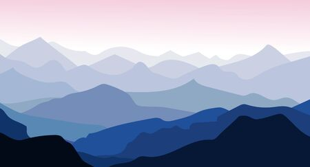 Panorama vector illustration of mountain ridges. Silhouettes of mountain peaks in the morning. Aerial perspective.