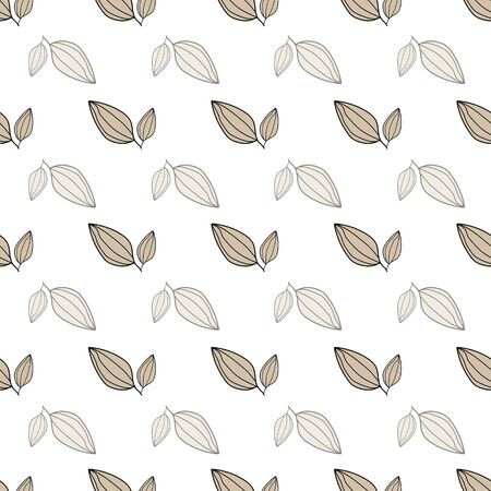 Seamless pattern of leaves on a white background. Textile decoration. Vector Home Decor Illustrations.