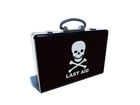 black briefcase: black briefcase with skull   bones Stock Photo