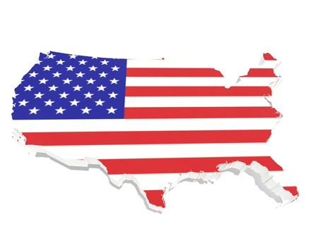 American flag on 3d american map photo