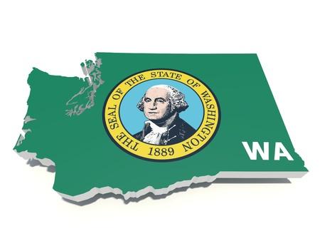 Washington flag on washington 3d state photo