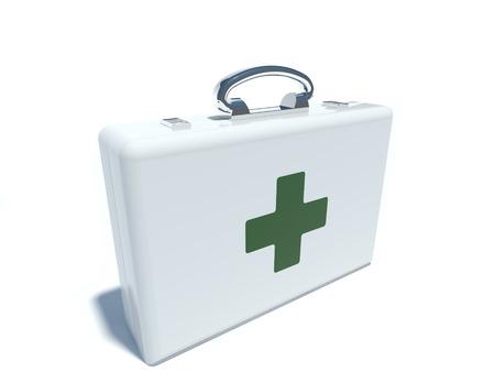 botiquin primeros auxilios: botiqu�n de primeros auxilios con la cruz en blanco aislado Foto de archivo