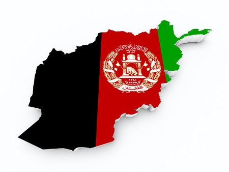 afghanistan flag on 3d map photo