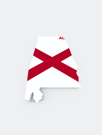 alabama state flag on 3d map photo