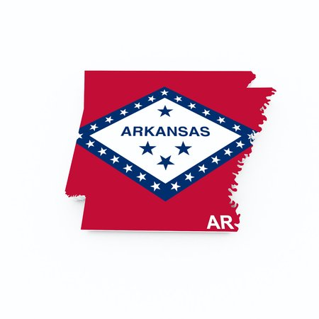 arkansas state flag on 3d map photo