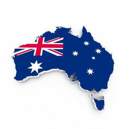 Australia flag on 3d map