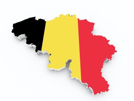 Belgium flag on 3d map photo