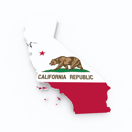 California flag on 3d map