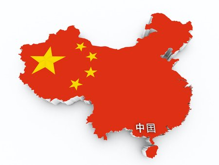 China flag on 3d map photo