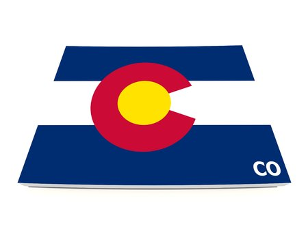 Colorado state flag on 3d map photo