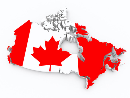 Canada flag on 3d map photo