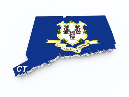 connecticut state flag on 3d map photo