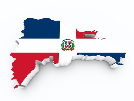 dominican republic flag on 3d map on white isolated photo