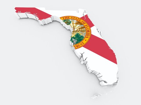 midwest: florida state flag on 3d map Stock Photo