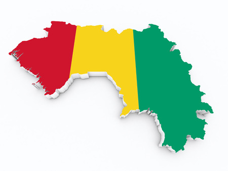 dakar: map of guinea with flag on white isolated
