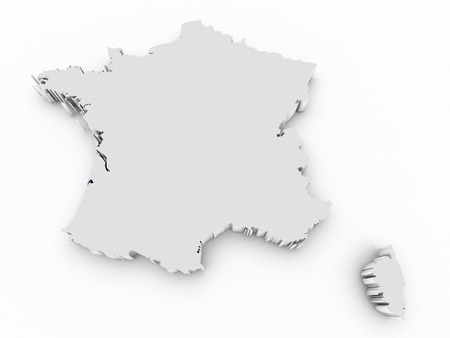 orange county: france 3d map on white isolated
