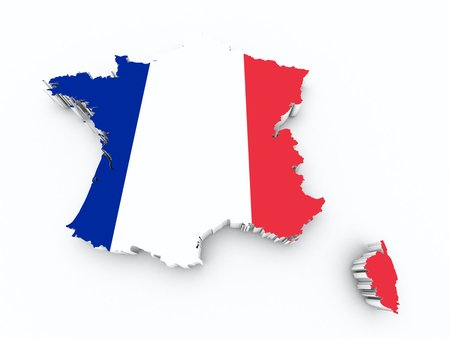 shire: france flag on 3d map