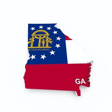 georgia state flag on 3d map photo