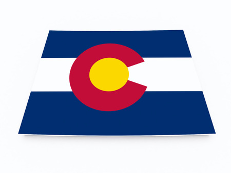 fort collins: colorado state flag on 3d map on white isolated