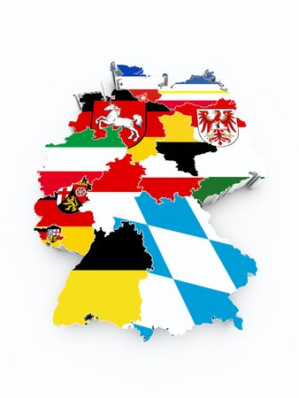 holstein: map germany with state flags on white isolated Stock Photo