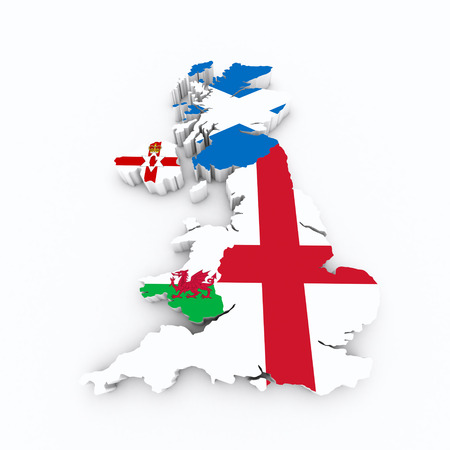 protestant: Britain flags on 3d map Stock Photo