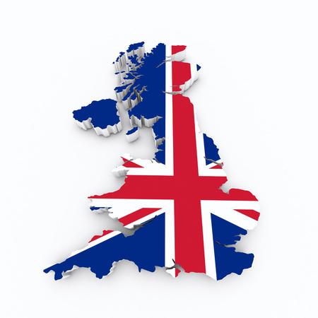 british isles: Britain flag on 3d map