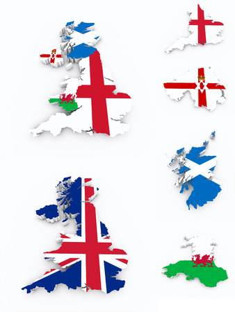 british isles: Britain flags on 3d map Stock Photo