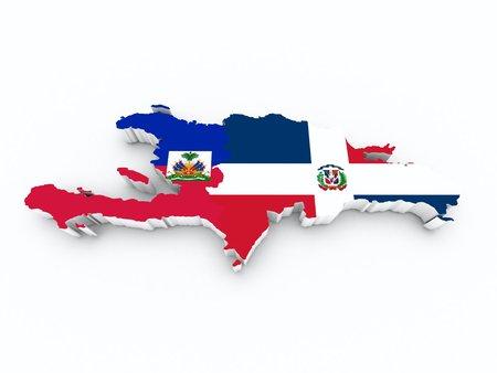 kaart Hispaniola op wit geïsoleerd Stockfoto