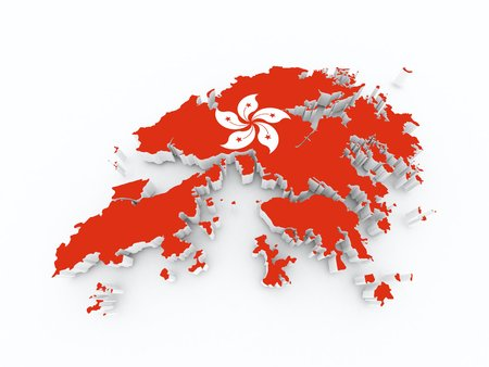 hong kong state flag on 3d map photo