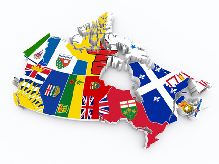 edmonton: canada provinces flags on 3d map