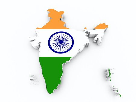 shire: india flag on 3d map