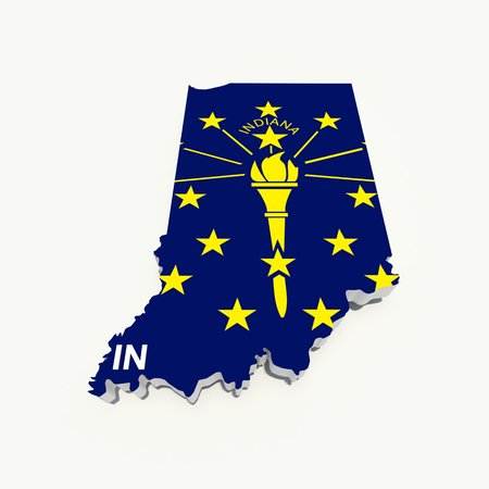 midwest: indiana flag on 3d map