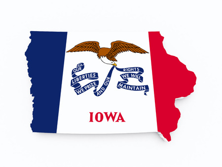 liberties: iowa state flag on 3d map on white isolated