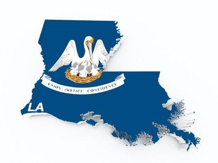 louisiana flag: louisiana state flag on 3d map