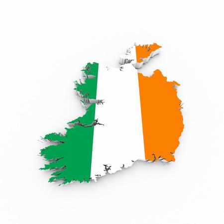 bandera de irlanda: bandera de irlanda en 3d mapa Foto de archivo