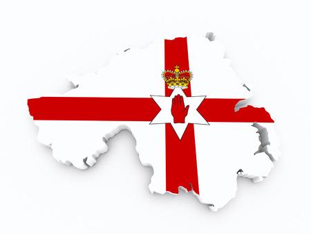 leeds: North Ireland flag on 3d map