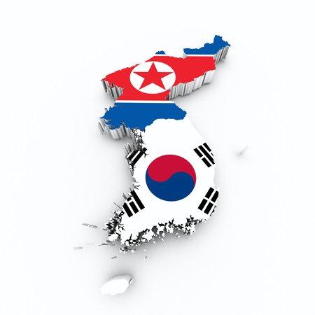 korea flag on 3d map