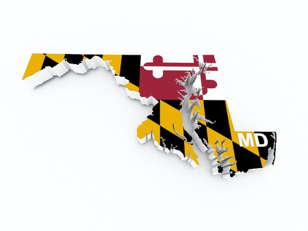 midwest: maryland state flag on 3d map