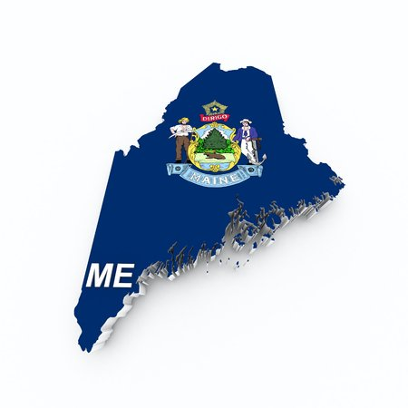maine: maine state flag on 3d map Stock Photo