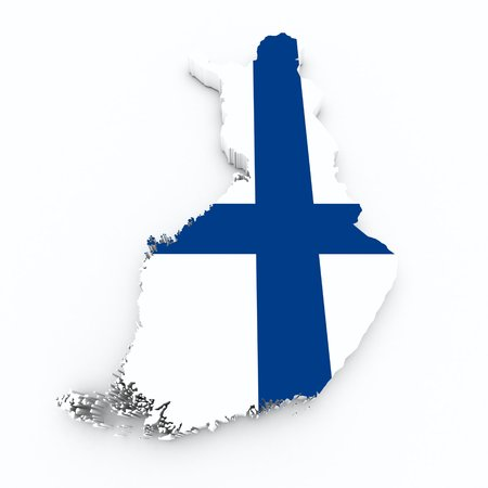 finland: finland flag on 3d map Stock Photo