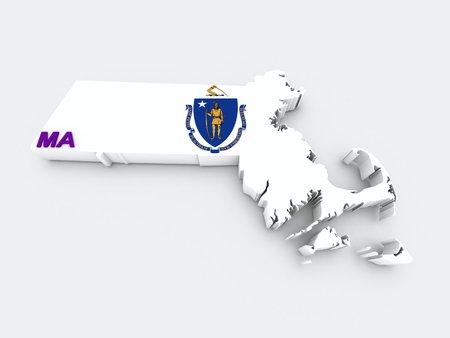 massachusetts state flag on 3d map