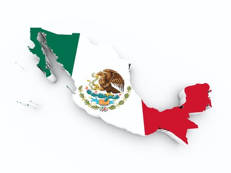 red cross red bird: mexico flag on 3d map