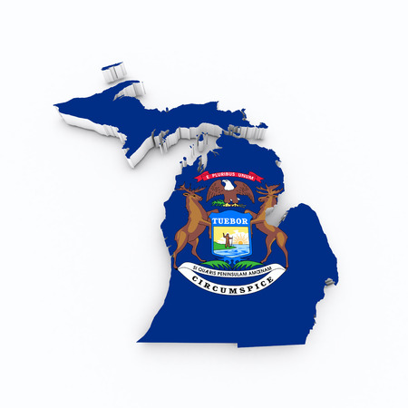 midwest: michigan state flag od 3d map Stock Photo