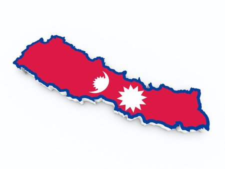 nepal: nepal flag on 3d map