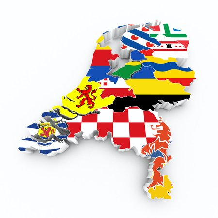 limburg: map netherlands with province flags on white isolated
