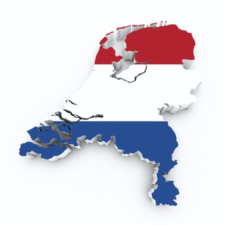 map of netherlands: map netherlands with flag on white isolated