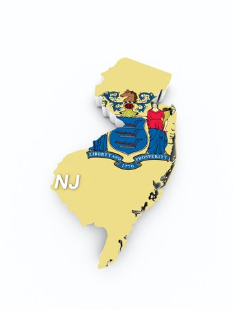 midwest: new jersey state flag on 3d map