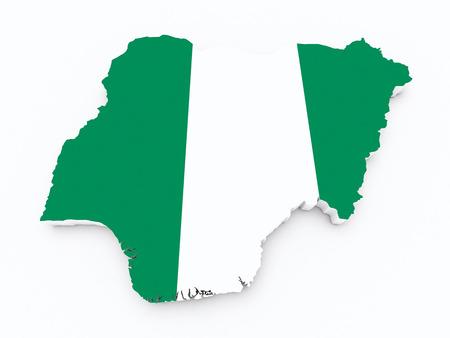 dakar: Nigeria flag on 3d map Stock Photo