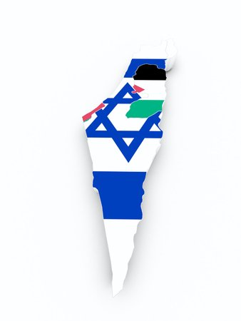 syria peace: israel and palestine flag on 3d map Stock Photo
